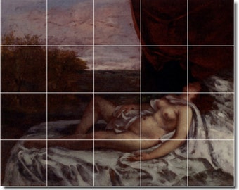 S-M-L-XL Custom Ceramic Nudes Painting Tile Mural. Femme Nue Endormie By Gustave Courbet