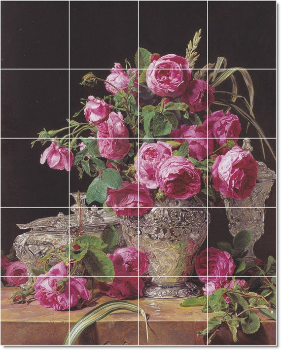 S M L Xl Custom Ceramic Flowers Painting Tile Mural Rosen By