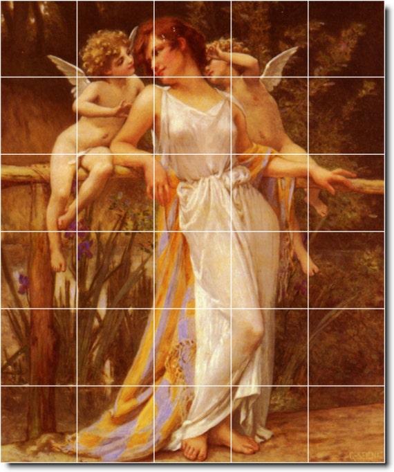 S M L Xl Custom Ceramic Angels Painting Tile Mural Nymphe