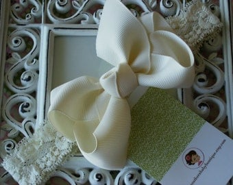 NEW ITEM----Boutique Baby Toddler Girl Hair Bow Clip with Lace Headband----CREAM----