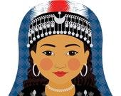 Assyrian Girl Matryoshka Art Print, Kids Wall Art