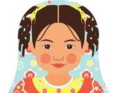 Chilean Girl Matryoshka Art Print, Kids Wall Art