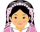 Chinese Pink HanFu Girl Matryoshka Art Print, Kids Wall Art