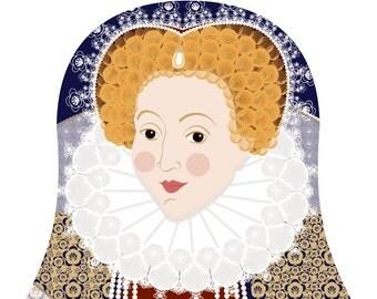 Queen Elizabeth I of England Wall Art Print featuring royal figure drawn in a Russian matryoshka nesting doll shape