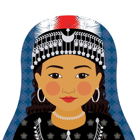 Assyrian Doll Art Print with traditional folk dress, matryoshka