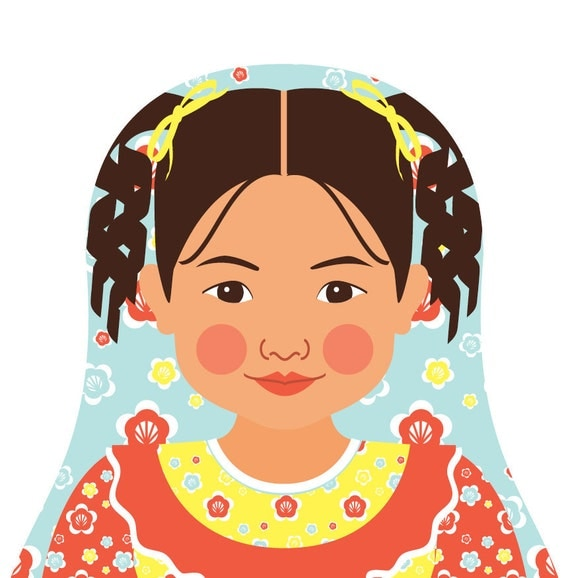 Chilean Wall Art Print features culturally traditional dress drawn in a Russian matryoshka nesting doll shape