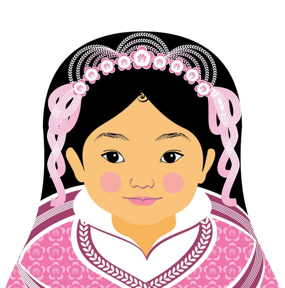 Chinese Pink HanFu Matryoshka Print Babushka Nesting Dolls Nursery Decor Asian Kids Art Nationalities Dress Adoption Multicultural Diversity