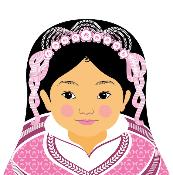 Chinese Pink HanFu Wall Art Print featuring culturally traditional dress drawn in a Russian matryoshka nesting doll shape