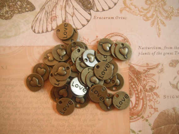 Heart Love Charm Double Sided Antique Brass Pack Of 10 Charms