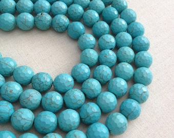 Blue Turquoise Howlight Faceted 12mm - 14.5 inches strand