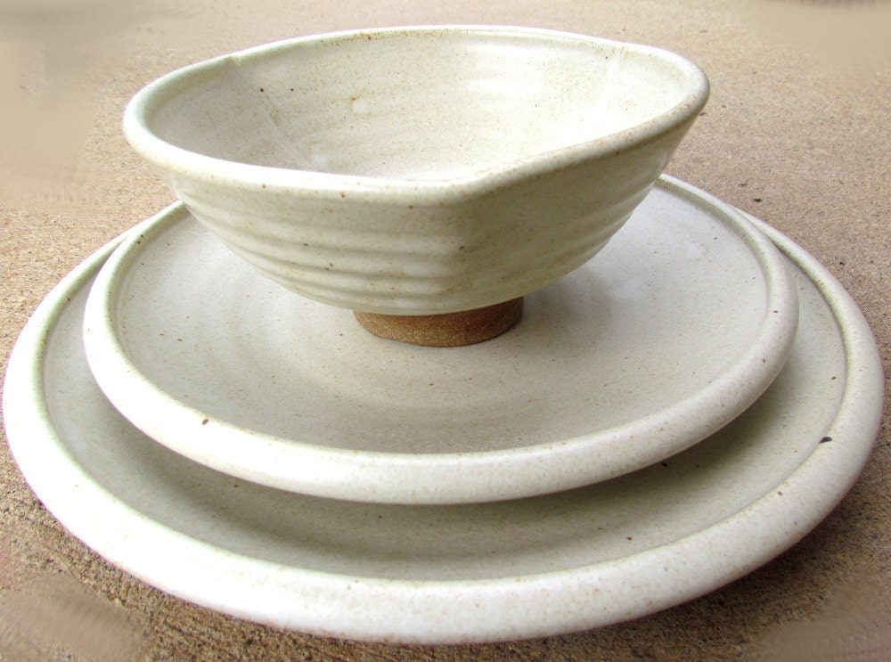 white pottery dinnerware set handmade for your by claycoyote