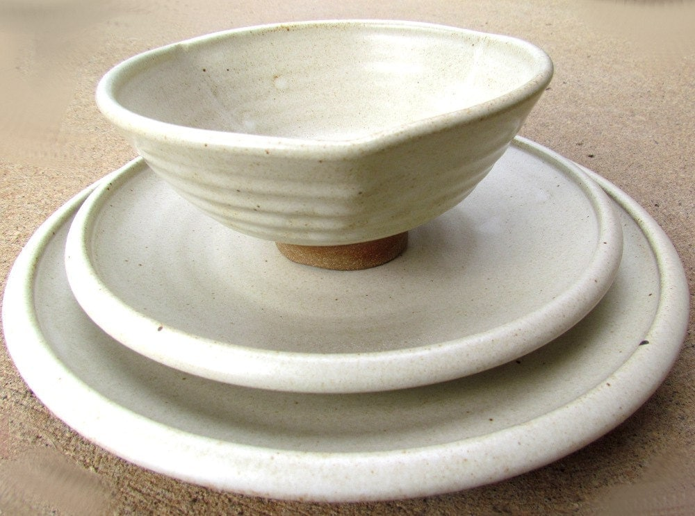 handmade stoneware dinnerware sets white pottery dinnerware set handmade for your by claycoyote 1729