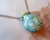 CLEARANCE-Sleepy Kitty-blue ceramic jar necklace with silver chain, 26 1/2 inches or 67 cm