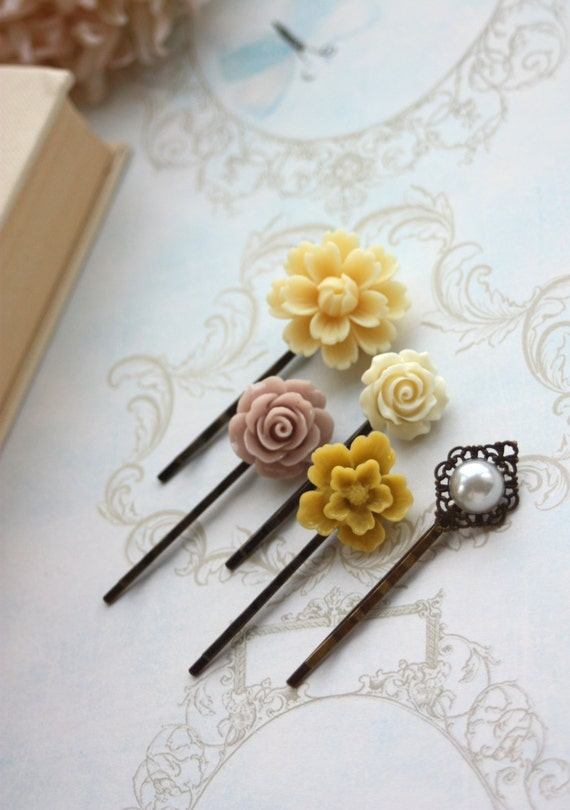 Flower and Bird Bobby Pins, Red Bird, Cream Hair Flower, Hair Accessories, Ivory Flower, Yellow Flower, Faux Pearl, Set of Five (5)