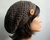 Crochet Pattern for HDC Button Tab Slouchy Hat, Tam, Toque, beanie, button hat, woodland