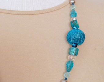 """Silver pearl necklace with an aqua mesh ball, aqua and clear glass bead accents 29"""""""