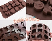 Assorted Kawaii Designs Silicone Mold for Chocolate, Ice Cubes, Soap, Resin & Clay Craft