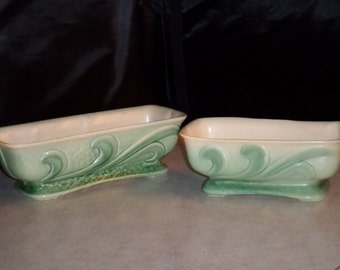 two Brush McCoy Pottery Princess creamware textured modern leaf swirl window box  planter vase bowl