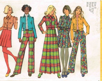 Jacket Pleated Maxi Skirt Pants Pointed Collar Misses Size 8 Bust 31.5 Simplicity 5198 Vintage 1970s Misses Unlined