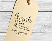 Custom modern wedding favor stamp--Thank you!--143TS