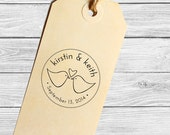 Custom Love birds wedding or save the date stamp--130TS