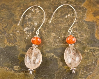 Handcrafted Sunstone, Agate, and Sterling Silver Earrings (E247)