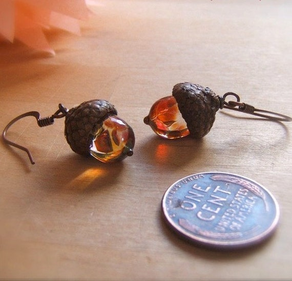Glass Acorn Fall Earrings in Organic Tones by Bullseyebeads