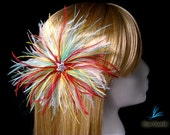 """Multicolored feather fascinator large dramatic headpiece """"Sunburst Fruit Punch"""" burgundy red Tiffany blue white yellow ostrich feathers"""