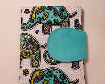 Kindle Paperwhite Cover, iPad Mini cover, Book Style, Kindle Touch Cover, Kindle Fire Cover, Turquoise Elephants