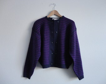 VINTAGE PURPLE striped CARDIGAN sweater - medium
