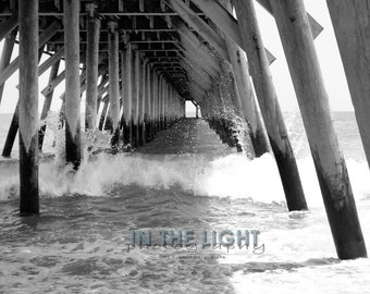 Waves Crashing into Pier 2 - Myrtle Beach - Fine Art Photography