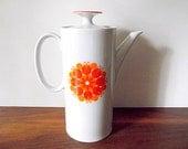Vintage Thomas Germany Porcelain Coffee Pot, Orange Flower, Retro Mod