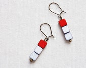 Czech glass Earrings - cherry red and white czech glass square beads - dangle - ruby -  geometric jewelry