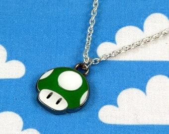 Green 1-Up Mario Mushroom Necklace