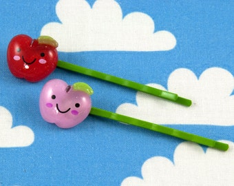 Pair of Kawaii Happy Apple Bobby Pins