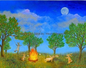 Bunny ACEO print campfire full moon marshmallows party in the park nightlife fun Rabbit hare