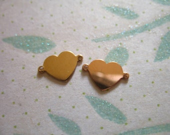 Shop Sale. 5 10 25 pcs, Heart Blanks Discs Sequins, 14k Gold Filled, Rose or Yellow, 10.5x7 mm, personalize custom jewelry metal blank rg