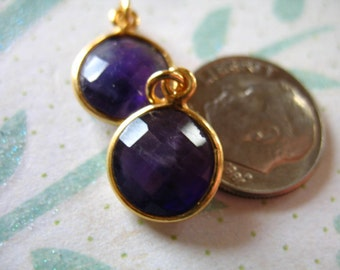 Shop Sale..  Gemstone Connectors Pendants Charms, Bezel PURPLE AMETHYST, 24k Gold Vermeil, 14.x11 mm, February birthstone gcp6 gp ll