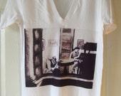 V Neck T Shirt With Edward Hopper Interpretation Art Print Adult Size Small