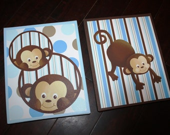 Set of 2 Blue Brown Pop Monkey Boys Bedroom Baby Nursery Art Prints on Stretched CANVAS 2CS007