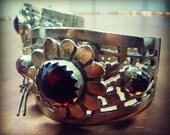 Afghan Kuchi Tribal VinTage Pin Hinged Slave Cuff Bracelet with Floral Design