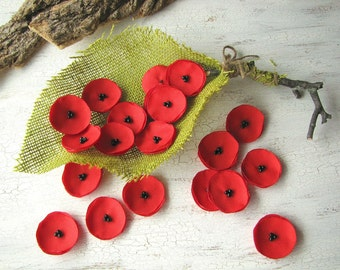 Fabric flower appliques, sew on flower appliques, floral embellishments, mini flowers for crafts (20 pcs)- Mini SCARLETT RED POPPIES