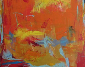 Red, Orange Yellow Art Abstract Painting, Modern, 30x40 inches