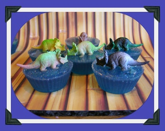 DINOSAURS ON LAKE Kids Soap Set  - Prehistoric Animal - Party Favor Gift Soap - Toy - Choose Scent Or Unscented  Gift Box Packaging Included