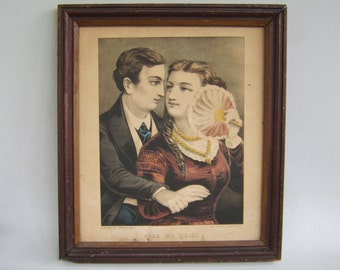 Vintage Antique Framed Lithograph Kiss Me Quick Currier & Ives 1800's