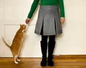 50% Off Sample Sale Grey Wool Skirt with Inverted Pleats, Winter Knee Length Skirt