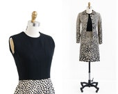 vintage 1960s dress / 60s suit / Leopard Print Mod Dress and Jacket Suit Set