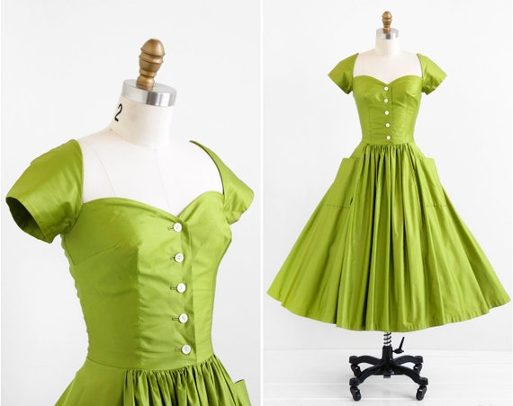 vintage 1950s dress / 1940s dress / Green Polished Cotton New Look Party Dress