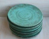 Reserved for Emilie, 8 Ceramic Plates in Copper Green Handmade Rustic Stoneware Dishes Ready to Ship, Made in USA