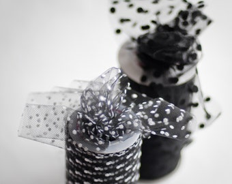 Polka Dot Tulle Spool, Black with White, 6 inches wide, 25 yards